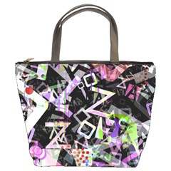 Chaos With Letters Black Multicolored Bucket Bags by EDDArt