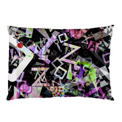 Chaos With Letters Black Multicolored Pillow Case by EDDArt