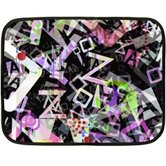 Chaos With Letters Black Multicolored Fleece Blanket (mini) by EDDArt
