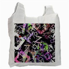 Chaos With Letters Black Multicolored Recycle Bag (one Side) by EDDArt
