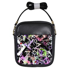 Chaos With Letters Black Multicolored Girls Sling Bags by EDDArt