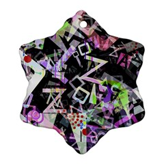 Chaos With Letters Black Multicolored Ornament (snowflake) by EDDArt