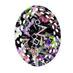 Chaos With Letters Black Multicolored Ornament (oval Filigree)