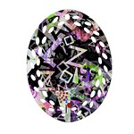 Chaos With Letters Black Multicolored Ornament (Oval Filigree) Front