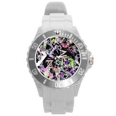 Chaos With Letters Black Multicolored Round Plastic Sport Watch (l) by EDDArt