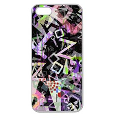 Chaos With Letters Black Multicolored Apple Seamless Iphone 5 Case (clear) by EDDArt
