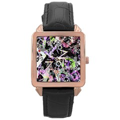 Chaos With Letters Black Multicolored Rose Gold Leather Watch  by EDDArt