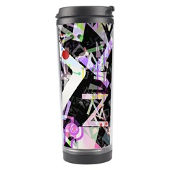 Chaos With Letters Black Multicolored Travel Tumbler by EDDArt