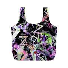 Chaos With Letters Black Multicolored Full Print Recycle Bags (m)  by EDDArt