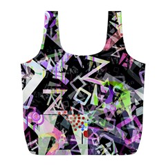 Chaos With Letters Black Multicolored Full Print Recycle Bags (l)  by EDDArt