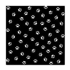Footprints Cat White Black Tile Coasters by EDDArt