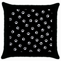 Footprints Cat White Black Throw Pillow Case (black) by EDDArt