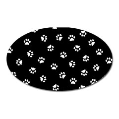 Footprints Cat White Black Oval Magnet by EDDArt