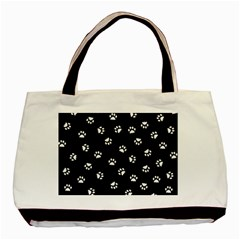 Footprints Cat White Black Basic Tote Bag by EDDArt