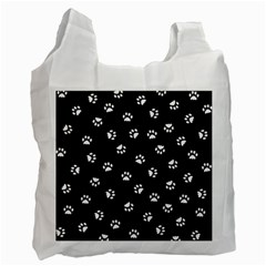 Footprints Cat White Black Recycle Bag (one Side) by EDDArt