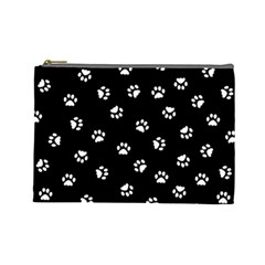 Footprints Cat White Black Cosmetic Bag (large)  by EDDArt