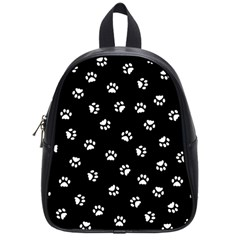 Footprints Cat White Black School Bags (small)  by EDDArt