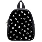 Footprints Cat White Black School Bags (Small)  Front