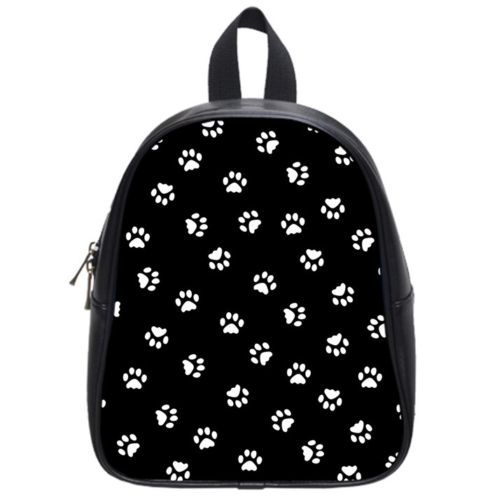 Footprints Cat White Black School Bags (Small)
