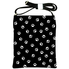 Footprints Cat White Black Shoulder Sling Bags by EDDArt
