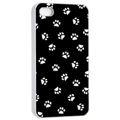 Footprints Cat White Black Apple Iphone 4/4s Seamless Case (white) by EDDArt