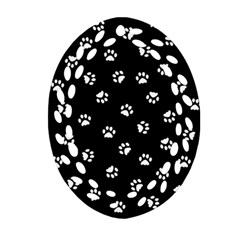 Footprints Cat White Black Oval Filigree Ornament (two Sides) by EDDArt