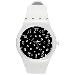Footprints Cat White Black Round Plastic Sport Watch (m) by EDDArt