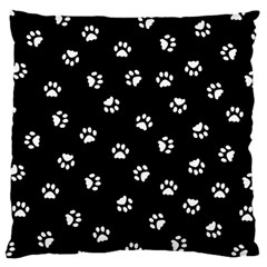 Footprints Cat White Black Large Cushion Case (two Sides) by EDDArt