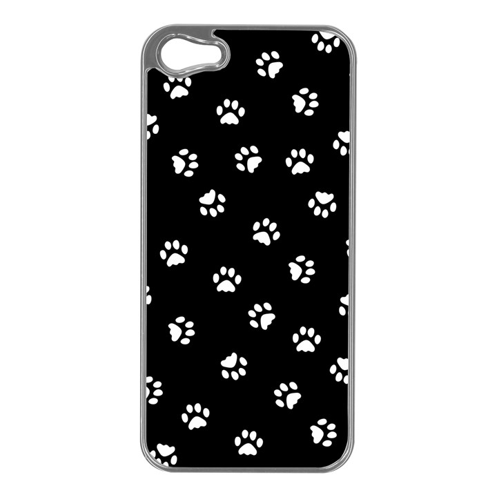 Footprints Cat White Black Apple iPhone 5 Case (Silver)