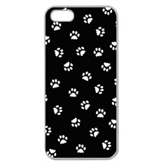 Footprints Cat White Black Apple Seamless Iphone 5 Case (clear) by EDDArt