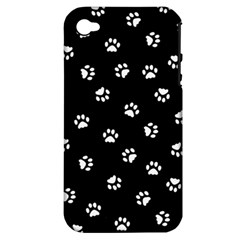 Footprints Cat White Black Apple Iphone 4/4s Hardshell Case (pc+silicone) by EDDArt