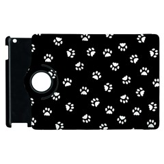 Footprints Cat White Black Apple Ipad 2 Flip 360 Case by EDDArt