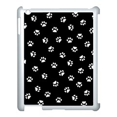 Footprints Cat White Black Apple Ipad 3/4 Case (white) by EDDArt
