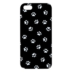 Footprints Cat White Black Apple Iphone 5 Premium Hardshell Case by EDDArt
