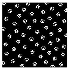 Footprints Cat White Black Large Satin Scarf (square) by EDDArt