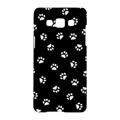 Footprints Cat White Black Samsung Galaxy A5 Hardshell Case  by EDDArt