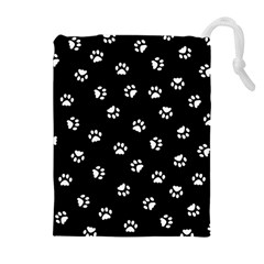 Footprints Cat White Black Drawstring Pouches (extra Large) by EDDArt
