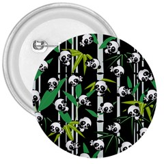 Satisfied And Happy Panda Babies On Bamboo 3  Buttons by EDDArt