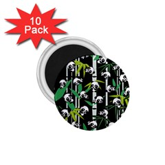 Satisfied And Happy Panda Babies On Bamboo 1 75  Magnets (10 Pack)  by EDDArt
