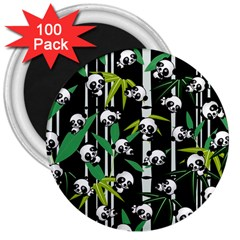 Satisfied And Happy Panda Babies On Bamboo 3  Magnets (100 Pack) by EDDArt