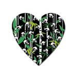 Satisfied And Happy Panda Babies On Bamboo Heart Magnet Front