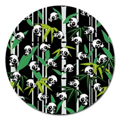 Satisfied And Happy Panda Babies On Bamboo Magnet 5  (round) by EDDArt