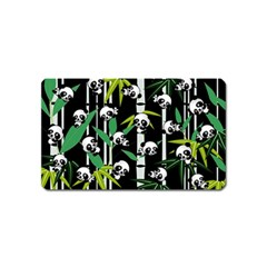 Satisfied And Happy Panda Babies On Bamboo Magnet (name Card) by EDDArt