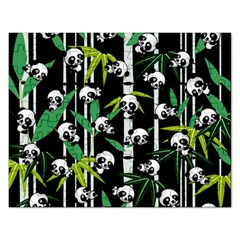 Satisfied And Happy Panda Babies On Bamboo Rectangular Jigsaw Puzzl by EDDArt