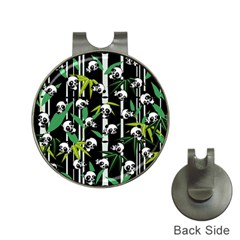 Satisfied And Happy Panda Babies On Bamboo Hat Clips With Golf Markers by EDDArt