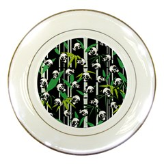 Satisfied And Happy Panda Babies On Bamboo Porcelain Plates by EDDArt