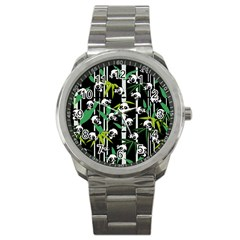 Satisfied And Happy Panda Babies On Bamboo Sport Metal Watch by EDDArt