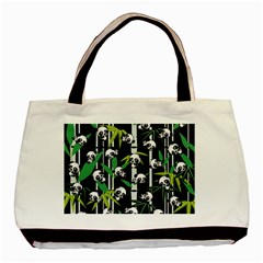 Satisfied And Happy Panda Babies On Bamboo Basic Tote Bag by EDDArt