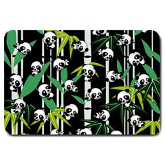 Satisfied And Happy Panda Babies On Bamboo Large Doormat  by EDDArt