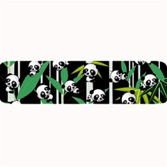 Satisfied And Happy Panda Babies On Bamboo Large Bar Mats by EDDArt